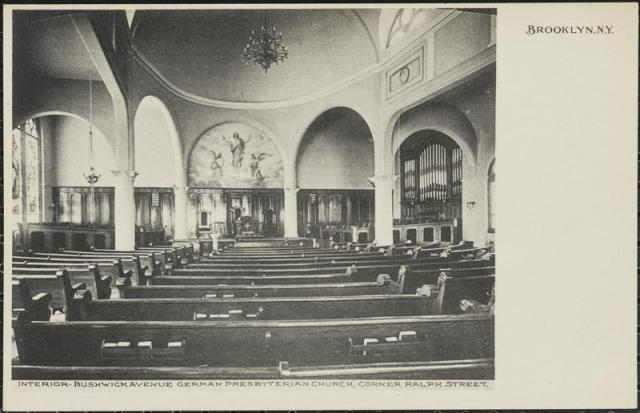 Postcard of Bushwick Avenue German Presbyterian Church interior, ca. 1907