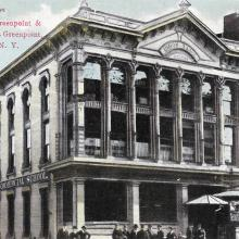 Postcard view of Union Bank, at the corner of Greenpoint and Manhattan Avenues.